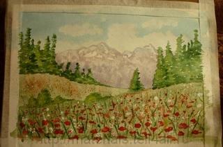 акварель альпийские луга
