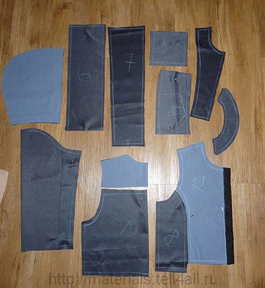 Обтачку и подборта решила не использовать.  Выкройка полочки из верхней ткани.