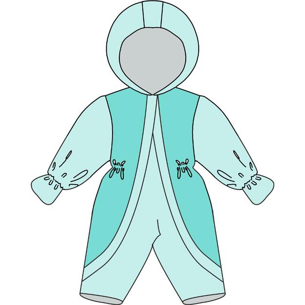 Выкройка детского зимнего комбинезона с варежкой