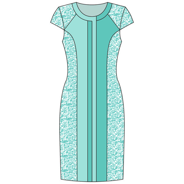Выкройка платья с вертикальной отделкой