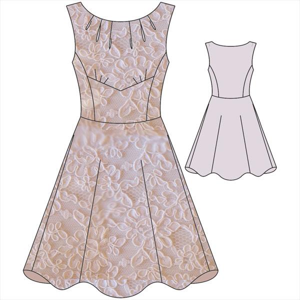 Платье с отрезной юбкой. Выкройка.