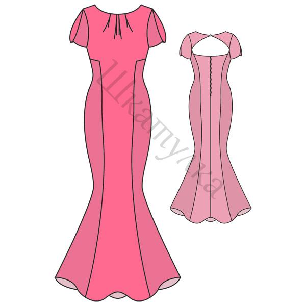 Выкройка вечернего платья «Русалка» с рукавами-лепестками