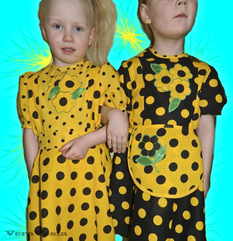 Детское платье в горох.