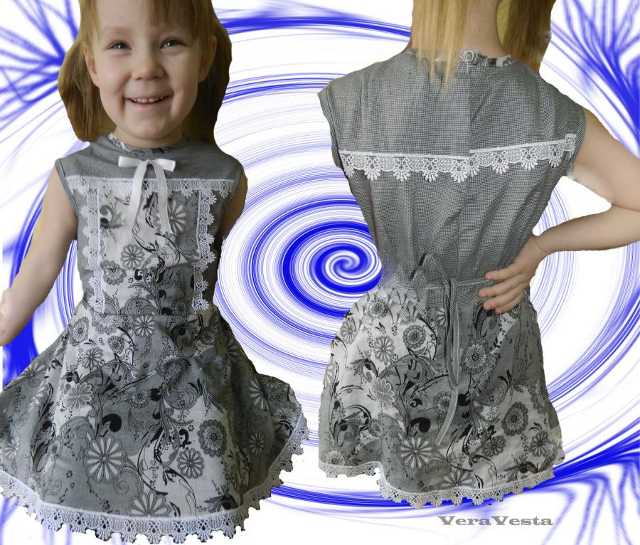 Платье для девочки комбинированное сшить