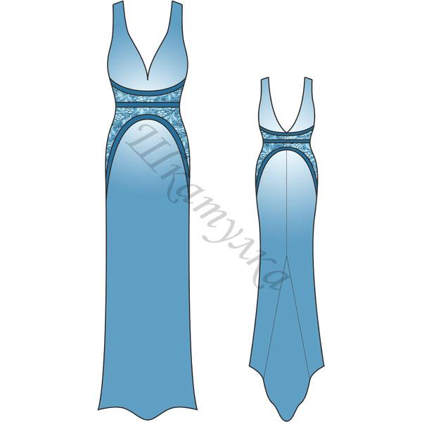 Выкройка: длинное платье с фигурными вставками
