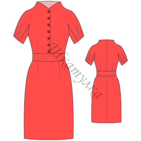 Выкройка платья-футляр со сложным рукавом