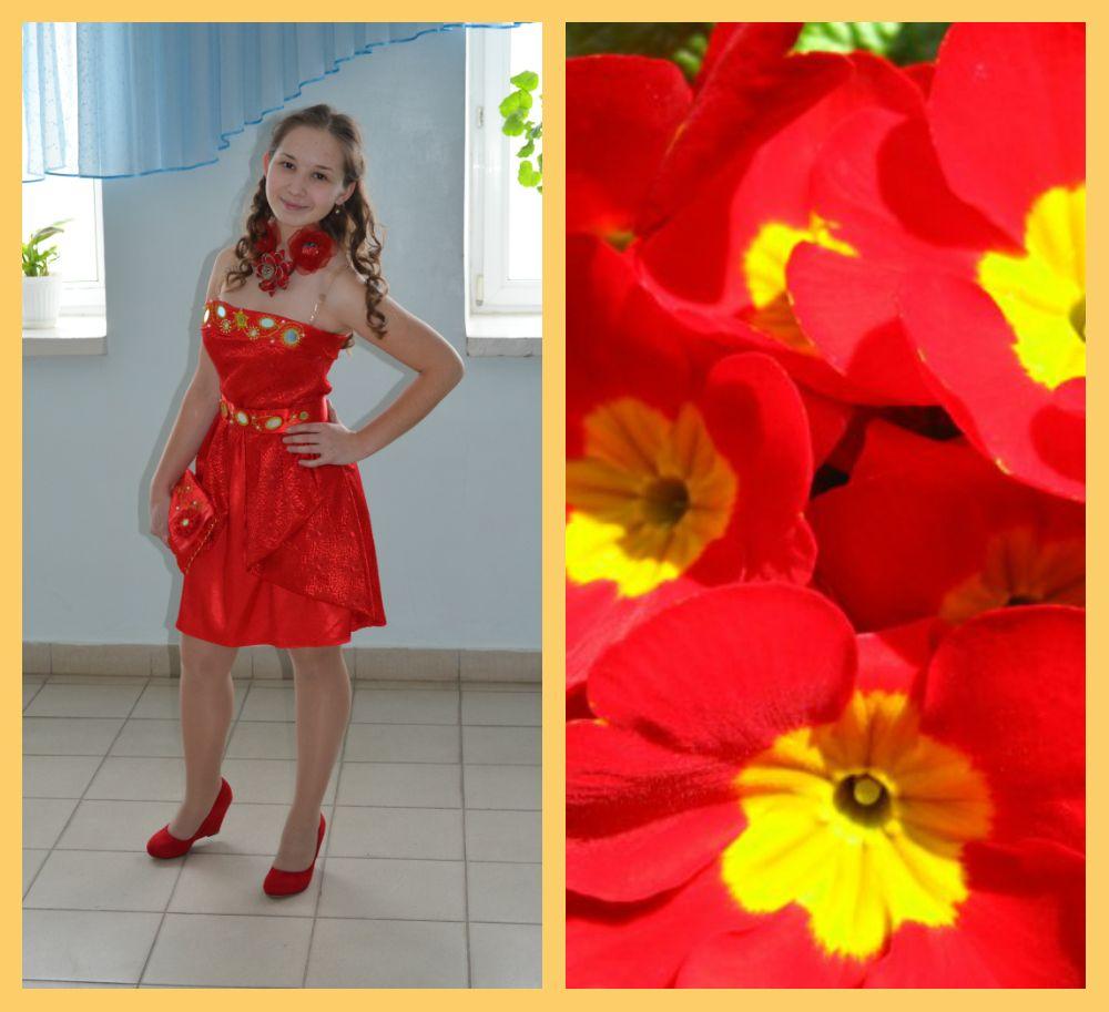 Модель» Красная примула» из моей коллекции одежды «Весенние первоцветы»