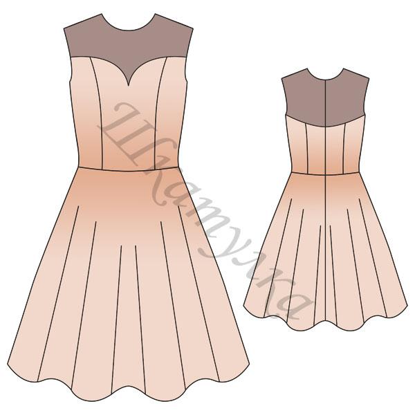 Платье с отрезной юбкой — выкройка.