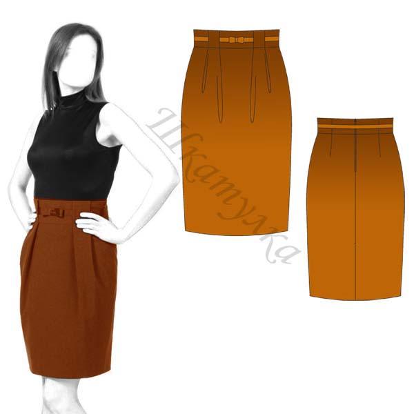 Выкройка юбки с высоким поясом