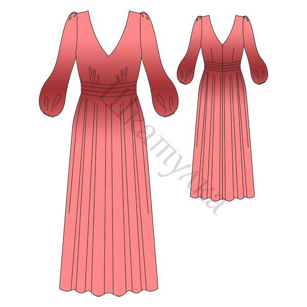 Выкройка длинного романтичного платья
