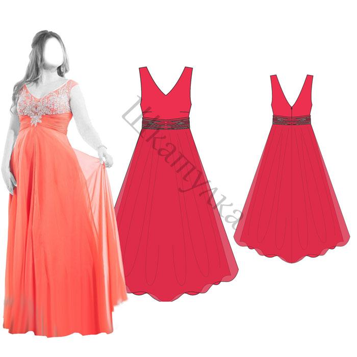 Выкройка вечернего платья WD120515