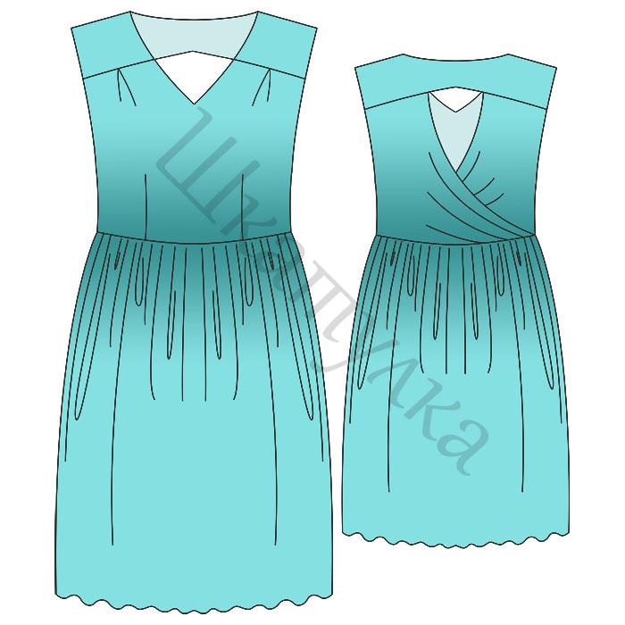Выкройка платья с драпировкой на спинке