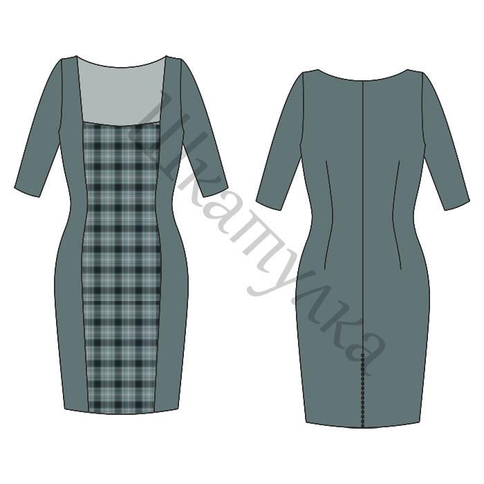Выкройка платья-футляр с рукавами
