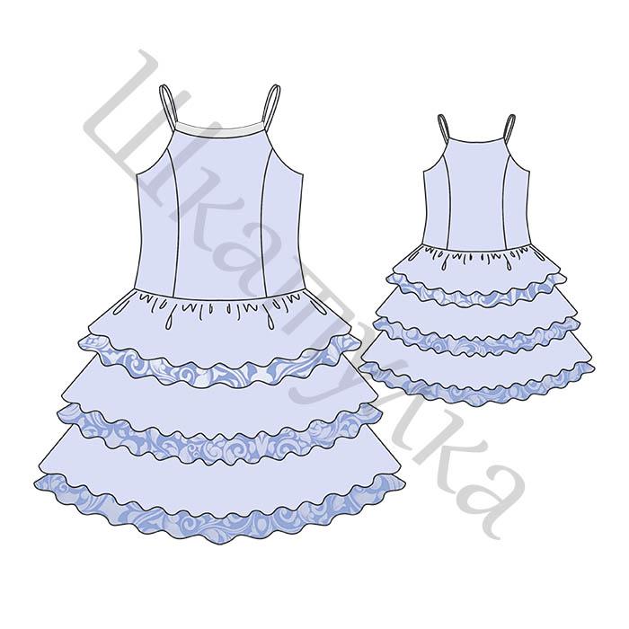 Платье с оборками для девочки. Выкройка.