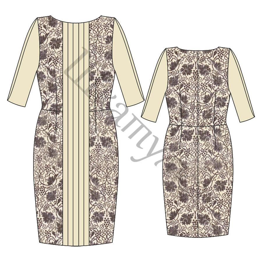 Выкройка платья-футляр со складками