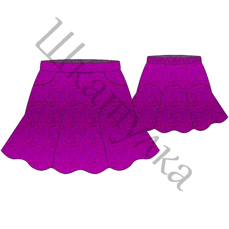 Выкройка юбки с фигурной кокеткой