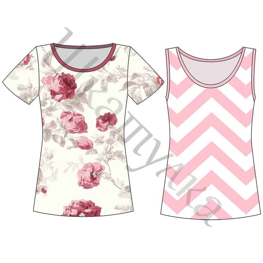 Выкройка женской футболки и майки WT200417