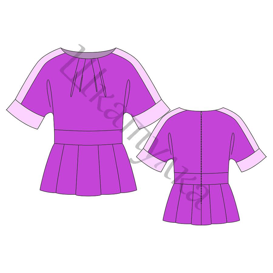 Выкройка блузки с баской и цельнокроеным рукавом WT160517