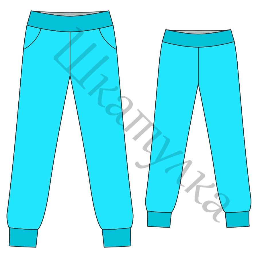 Выкройка женских спортивных брюк с манжетами WB130717