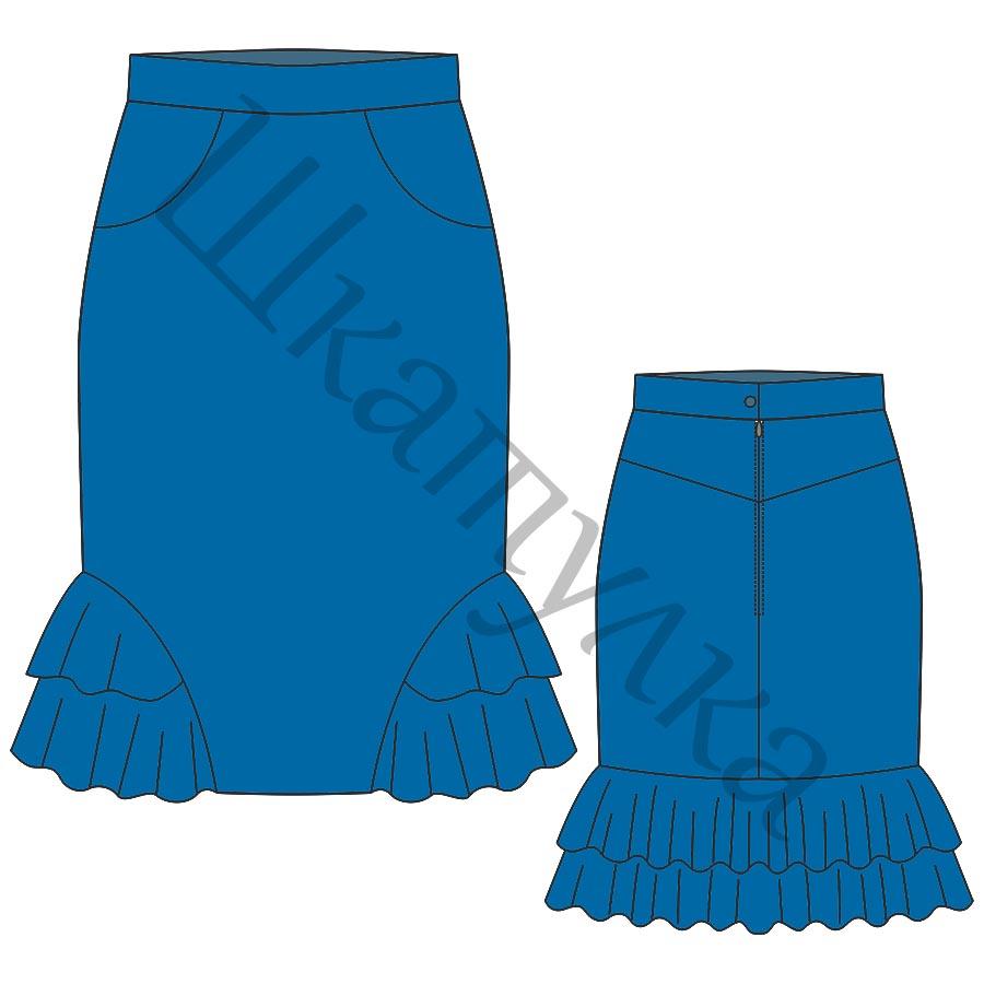 Выкройку юбки с тремя воланами 167