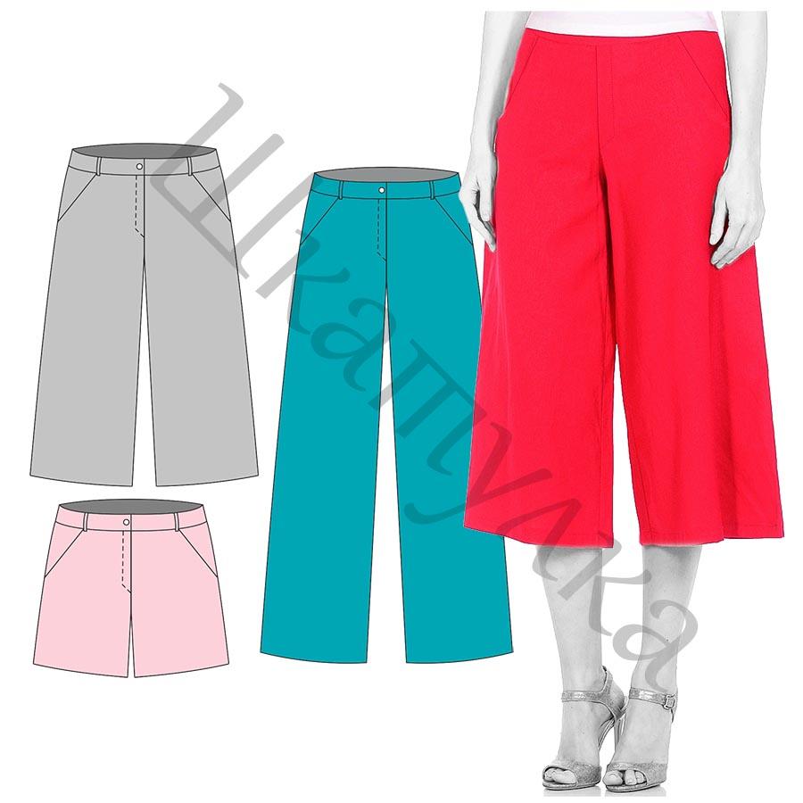 Выкройка женских брюк 3 в 1 WB290817