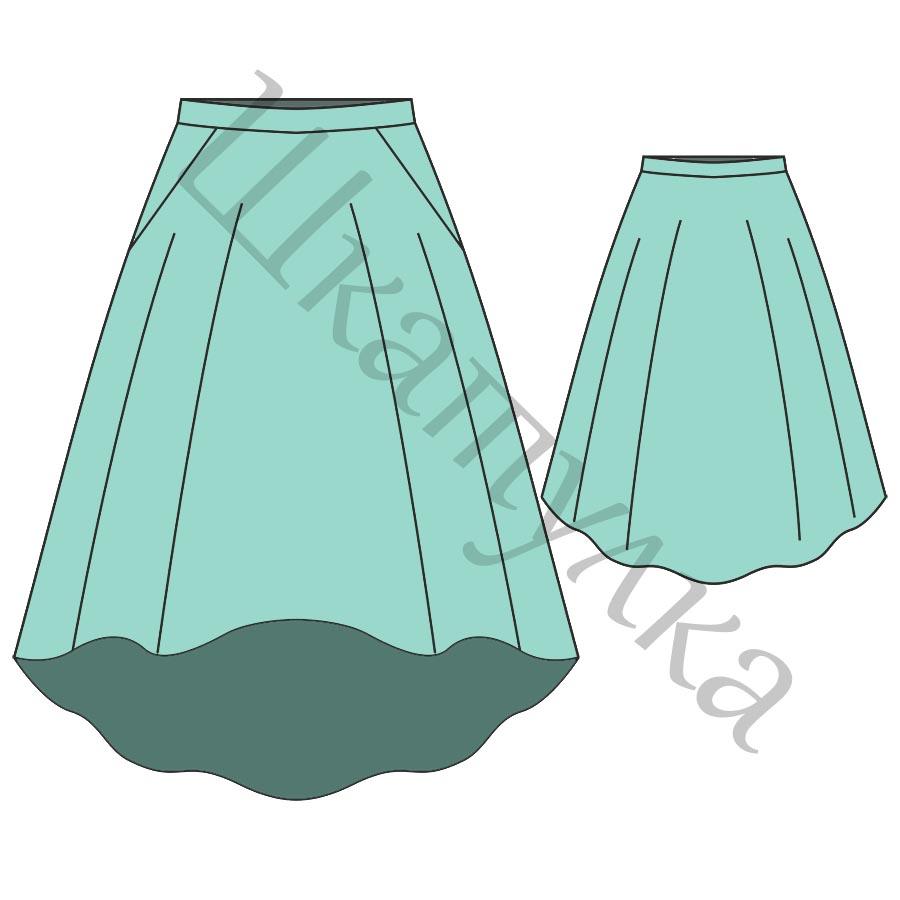 Выкройка юбки-полусолнце с карманами WS260917
