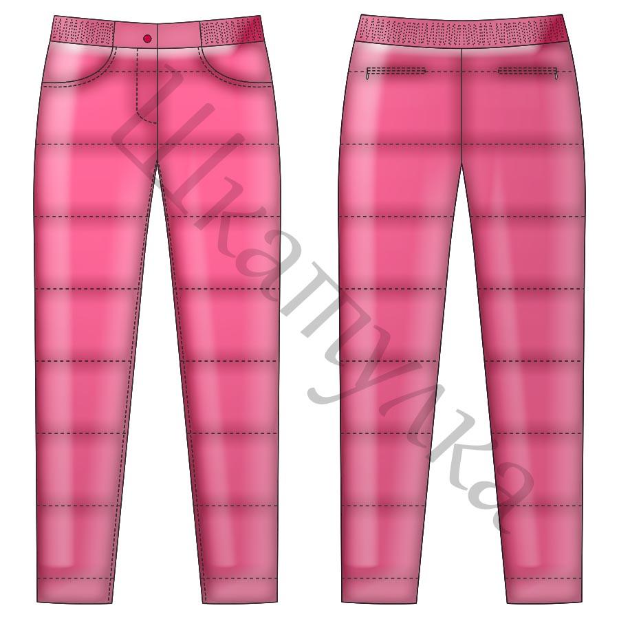 Выкройка узких женских брюк на резинке WB050719 | Шкатулка | 900x900