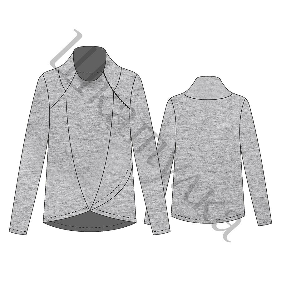 Выкройка женского пуловера WH131217