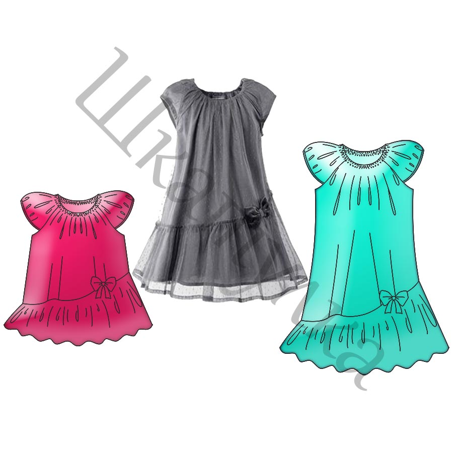 Выкройка платья с косой оборкой KD271217