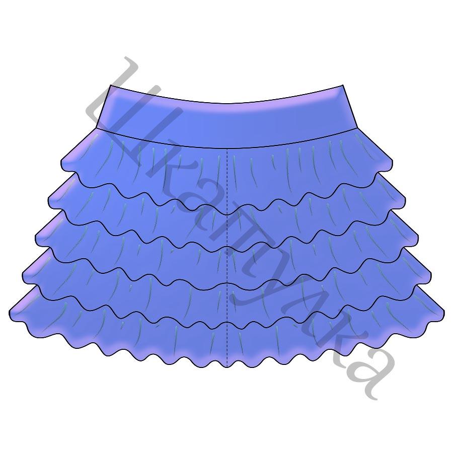 Выкройка трикотажной юбки с воланами для танцев KS010218