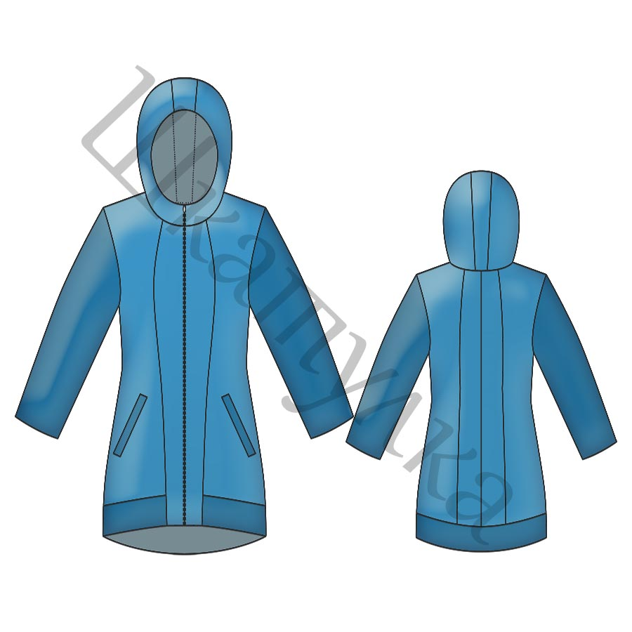 Выкройка демисезонной длинной куртки, пальто WP090218