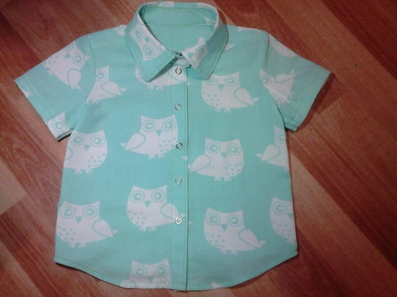 Рубашка с коротким рукавом «Совы на мятном»