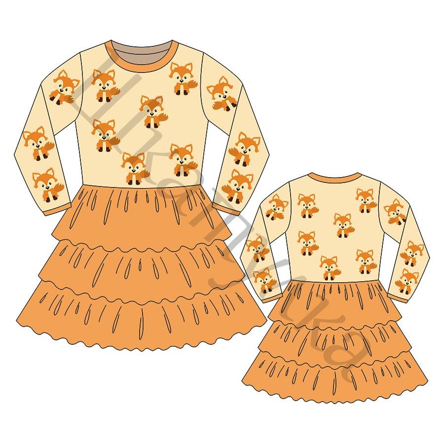 Выкройка трикотажного платья для девочки KD150318