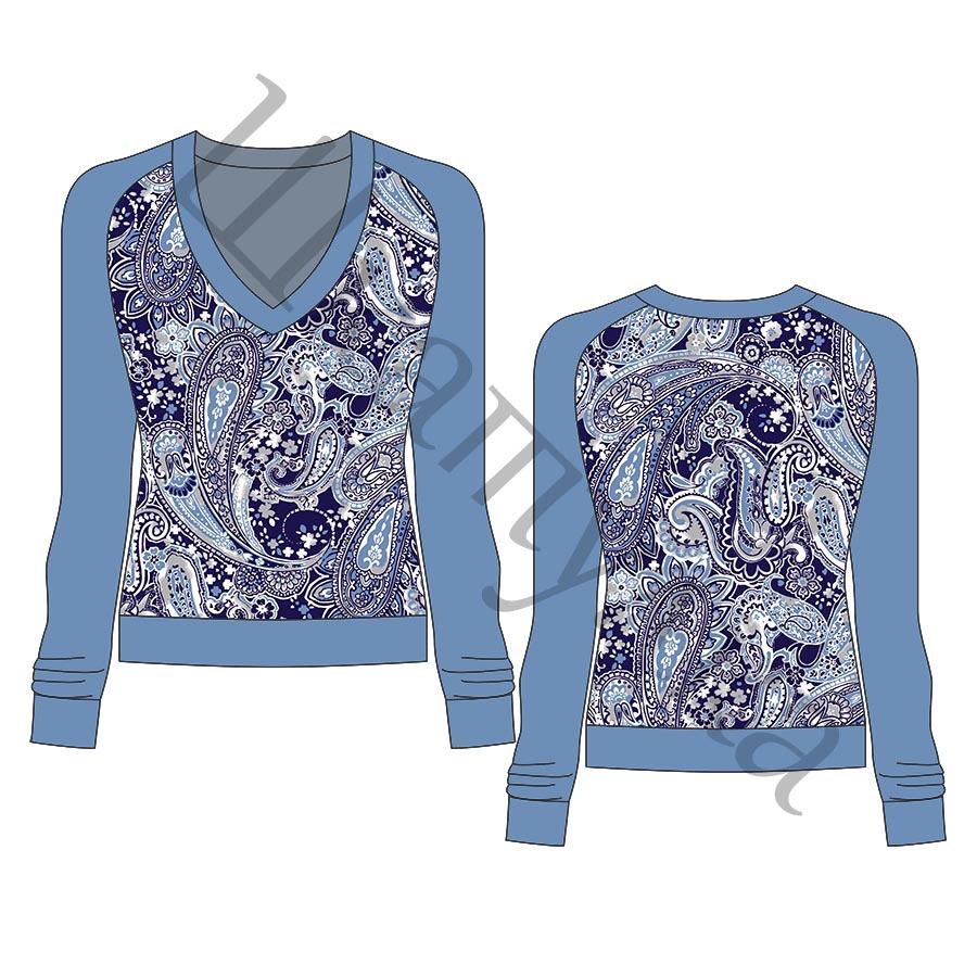 Выкройка женского пуловера с рукавом-реглан WH220318