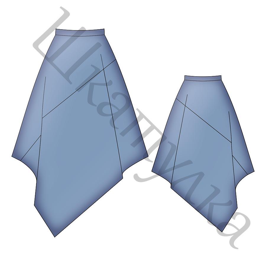 Выкройка асимметричной юбки WS070518