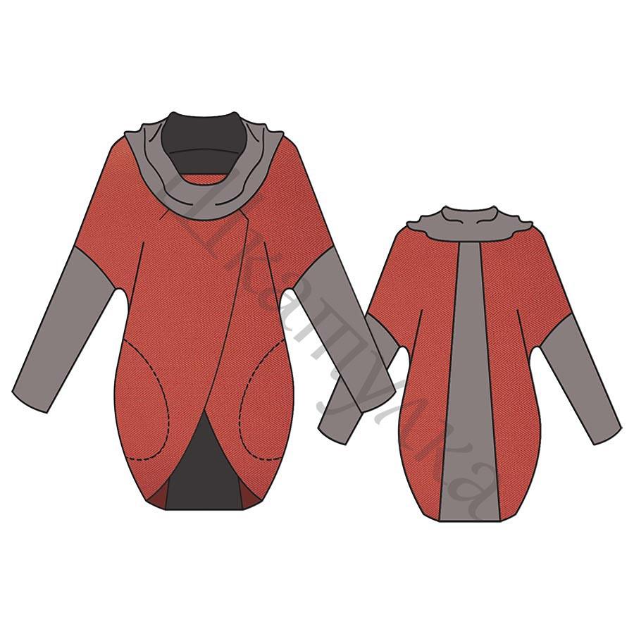 Выкройка комбинированного пуловера WH100518