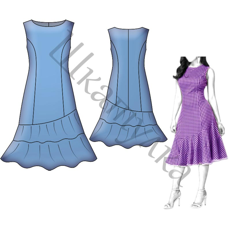 Выкройка платья с рельефами и воланами WD200618