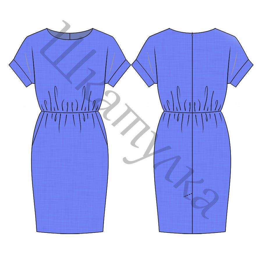 Выкройка отрезного платья с цельнокроеным рукавом WD110718