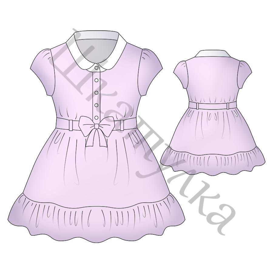 Выкройка платья-рубашки для девочки KD080818