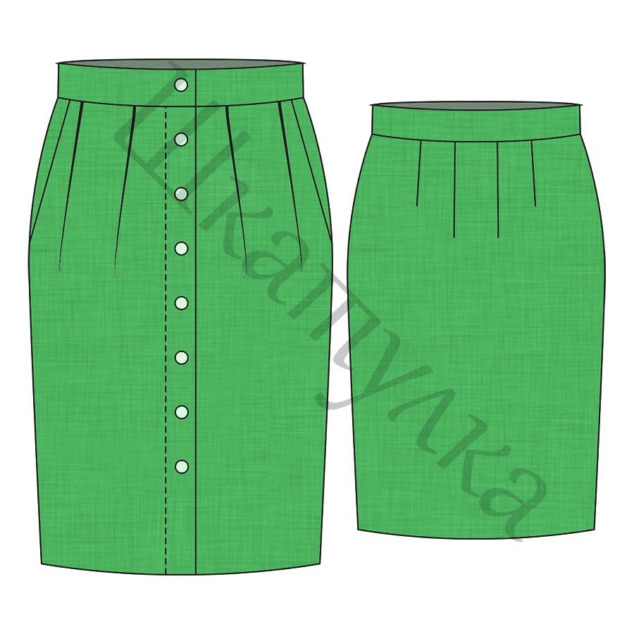 Выкройка женской юбки с карманами WS280818