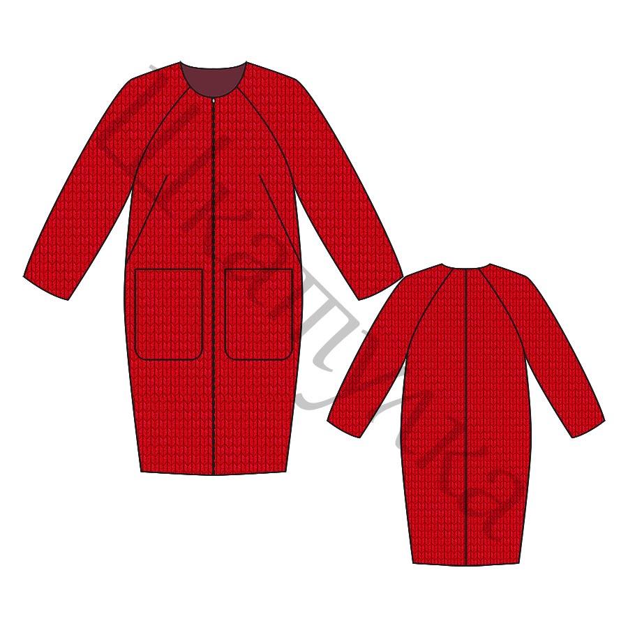 Выкройка пальто-кокон с рукавом реглан WC021018