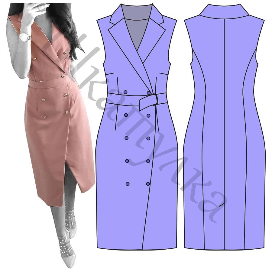 Выкройка платья с английским воротником WD101018