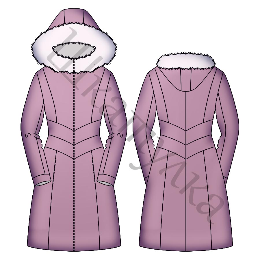 Выкройка зимнего пухового пальто WC121118