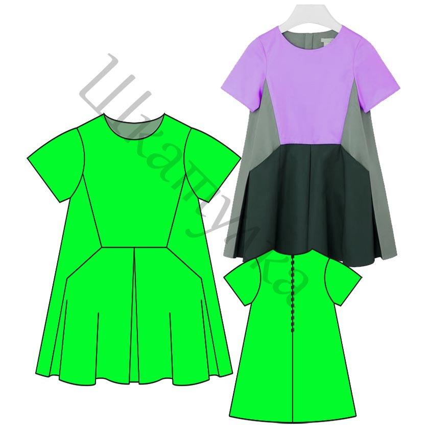 Выкройка детского платья «колорблок» KD201118