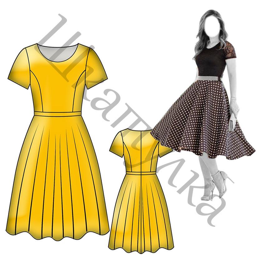 Выкройка платья с юбкой-солнцем WD061218