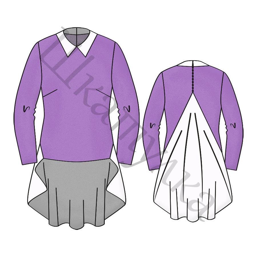 Выкройка блузки с воланом на спинке WT211218