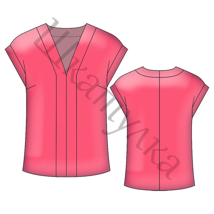 Выкройка женской блузки с удлиненным плечом WT180119