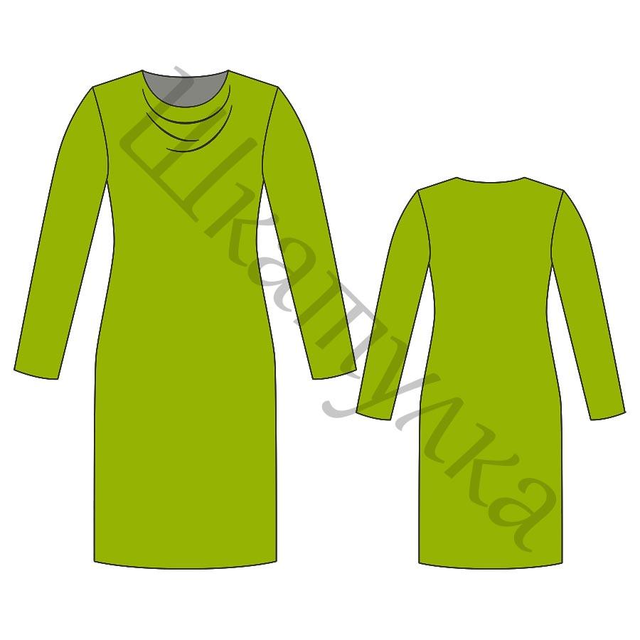Выкройка трикотажного платья с драпировкой «качели» WD290119