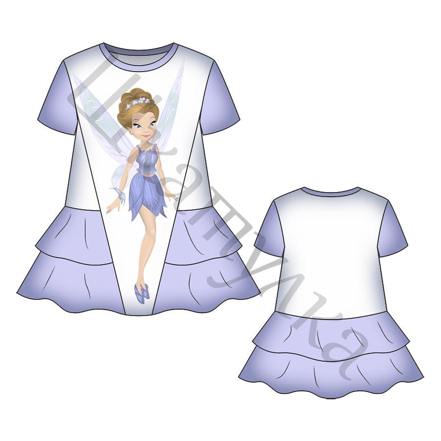 Выкройка детского платья с воланами KD120219