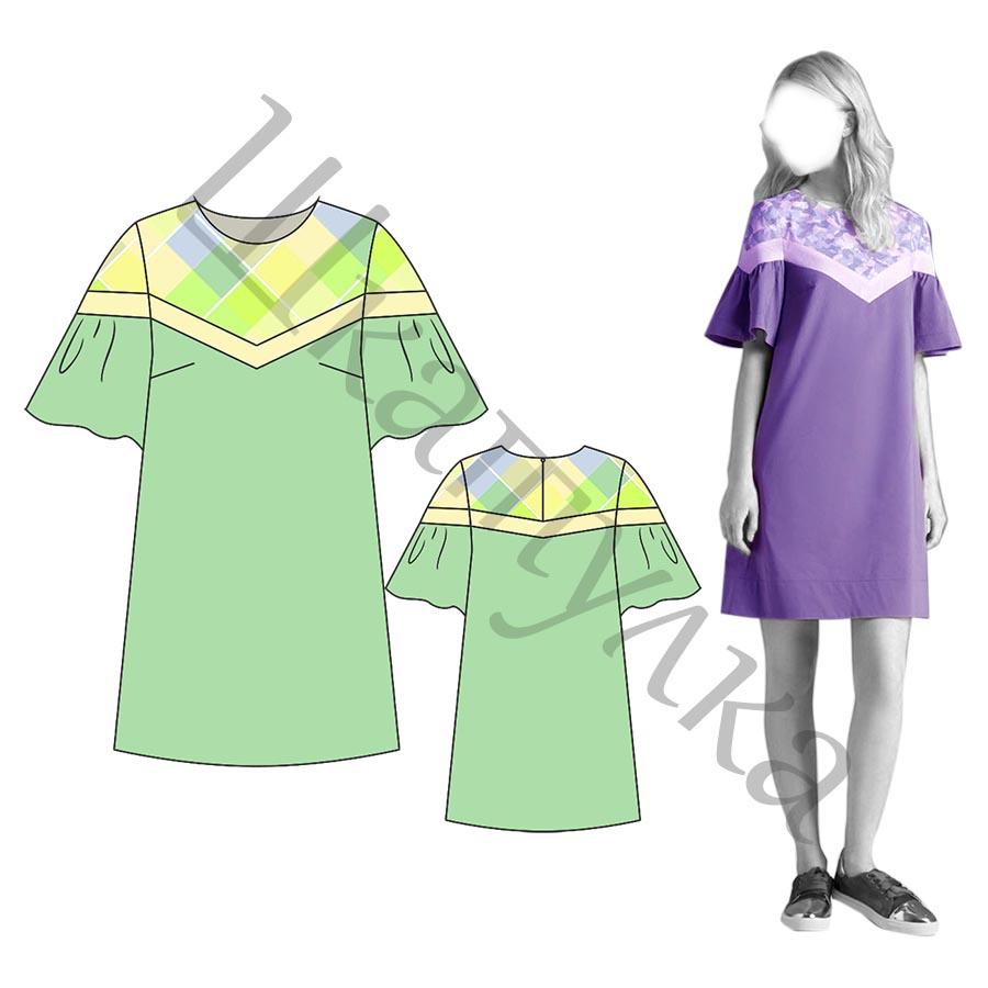 Выкройка платья-трапеции с кокеткой WD180219